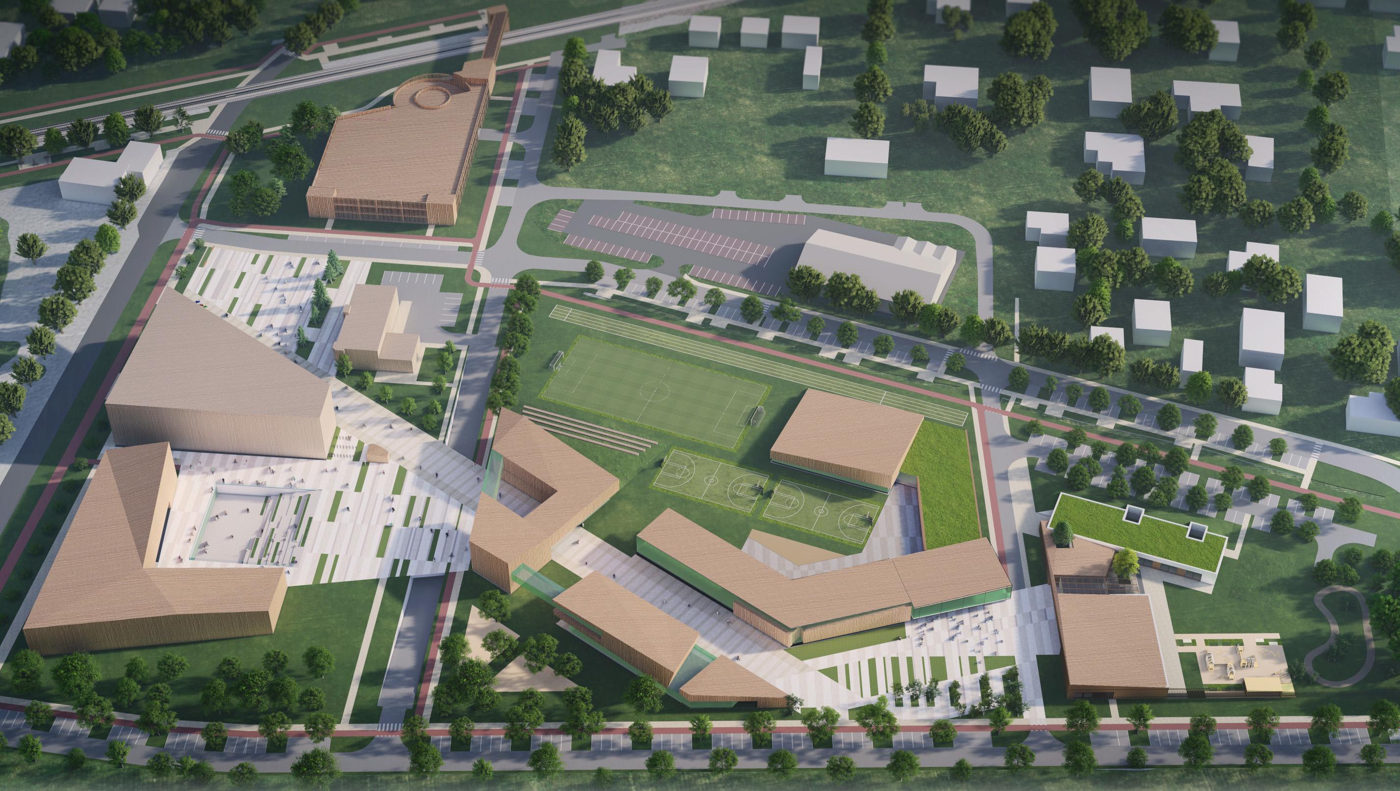 koncepcję urbanistyczno – architektoniczną zagospodarowania terenów przy Urzędzie Gminy Michałowice w Regułach ze szczególnym uwzględnieniem kampusu edukacyjnego oraz koncepcję architektoniczną energoefektywnego budynku przedszkola